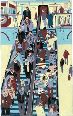 Graham Firth - lino step by step - escalator-print-part-26.jpg (632×1000)