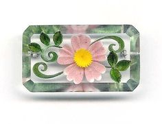 Pink Daisy Reversed Carved Lucite Brooch