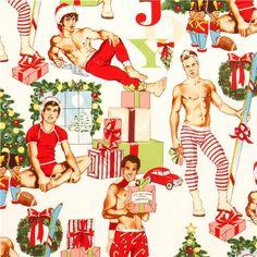 white Christmas fabric Pin up men Alexander Henry USA