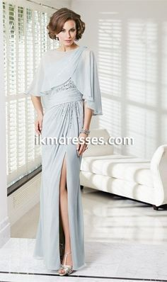 http://www.ikmdresses.com/Fashion-Sexy-Side-Slit-Beaded-Ruched-Chiffon-One-Shoulder-Sheath-Mother-Of-The-Bride-Dresses-vestido-de-madrinha-With-Cape-p92429