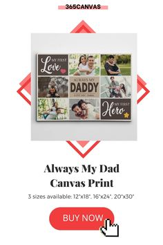 "The ""My First Love, My First Hero"" custom photo collage canvas print will let your dad know how much you care. This cute sign is great for celebrating a birthday, Father's Day, or any holiday. It's a nice way to tell him you'll always be his little girl. #myfirstlove #myfirsthero #daughterandfather #daughteranddaddy #canvasprint #365canvas #photo #collage Photo Collage Canvas, Heart Warming Quotes, Personalized Gifts For Dad, Cute Signs, First Love, My Love, Dad Birthday, No One Loves Me, Custom Photo"