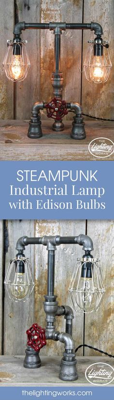 Add some unique steampunk styling to any space with this incredible table lamp, featuring early 20th-century vintage parts paired with brand new plumbing and electrical components.