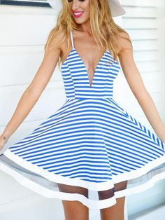 Blue Stripe Plunge Neck Spaghetti Strap Skater Dress