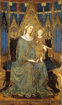 La Maestà di Simone Martini (1312-1315) si trova nella Sala del Mappamondo del Palazzo pubblico di Siena ~ Maestà di Simone Martini: particolare della Madonna col Bambino benedicente