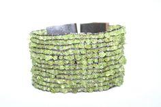 Peridot Wide Cuff Beaded Leather Bracelet  by BlueberryBirdDesigns, $65.00