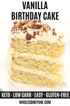 This gluten-free birthday cake is so rich and moist that no one will guess it's also a low carb keto cake recipe. It's easy to make with just 10 ingredients. Vanilla sugar-free cake is perfect for a birthday, or any day! Sugar Free Vanilla Cake, Low Sugar Cakes, Sugar Free Desserts, Sugar Free Recipes, Easy Cake Recipes, Low Carb Desserts, Gluten Free Recipes, Low Carb Recipes, Dessert Recipes