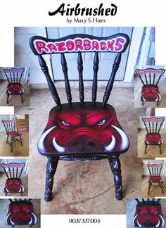 Mary's Flipped & Refurbished Furniture: Refurbished Furniture 1 - Razorback Chair Airbrushed by Mary S Hines