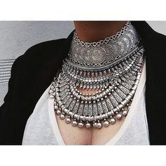 Nomad Bohemian Tribal Choker Necklace. Turkish, Boho Cyprus, Silver Ethnic Tribal Bazaar Gypsy, Jewelry Festival Free Child, People, Wild on Etsy, $55.00