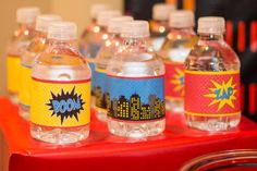 Water bottles at a Superhero Party #superhero #partyfood
