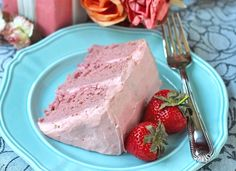Healthy Strawberry Cake with Strawberries and Cream Frosting