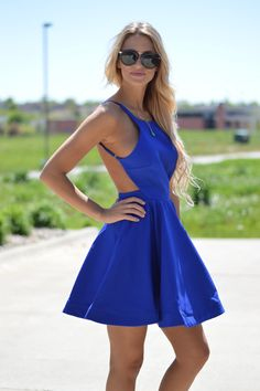 Royal Blue Open Back Dress | Foi Clothing Boutique | Summer Must Have | Everyday Wear | Wear Everyday | Perfect for EVERY Occasion | Buy Now on Foiclothing.com | Backless Detail | Oh, Royal Blue! | Also Available in Dark Coral | Flattering Fit | Adorably Affordable | Trendy Basic | Amazing for Every Wedding Guest Dress |