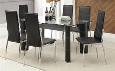 Riggan Black Vinyl Side Chair with Square Dark Metal Legs by Acme Furniture at Dream Home Interiors Glass Dining Room Sets, Glass Dining Table, Dinning Set, Acme Furniture, Dining Room Furniture, Metal Dining Chairs, Side Chairs, Best Bathroom Paint Colors, Contemporary Dining Sets
