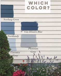I have one day left to pick an exterior house color for our Beach House and would love your input! Benjamin Moore Exterior Paint, Exterior Gray Paint, Exterior Paint Colors For House, Paint Colors For Home, Exterior Colors, Exterior Paint Color Combinations, Color Combinations Home, House Paint Color Combination, Chelsea Gray