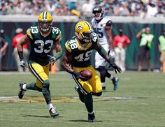 Green Bay Packers linebacker Joe Thomas (48) runs with the ball after intercepting a Jacksonville Jaguars pass during the first half of an NFL football game in Jacksonville, Fla., Sunday, Sept. 11, 2016.