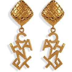 CHANEL VINTAGE JEWELRY Gold-Plated Word Drop Earrings ($1,610) ❤ liked on Polyvore featuring jewelry, earrings, accessories, chanel, brincos, chanel jewelry, diamond shaped earrings, clip on drop earrings, clip earrings and gold plated drop earrings