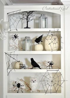 Totally doing the spider webs!!!  DIY Halloween Crafts : DIY  Glitter Spider Webs + Spooky Shelves: DIY halloween decor: DIY halloween decorations