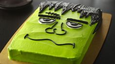 Enjoy this creatively decorated monster cake - perfect dessert for a Halloween celebration.