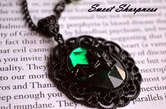 Black and green Gothic bat cameo necklace    www.etsy.com/shop/SweetSharpness
