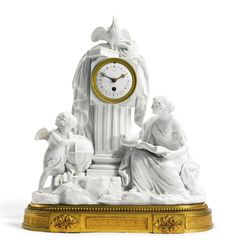 """L'Étude"", A Louis XVI style gilt bronze, gilt metal and Sèvres style biscuit porcelain horloge à poser. Paris, late 19th century."