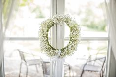 wieniec z gispówki / wreath #decoration #wedding #flowers #rustic #bouquet #wreath #babybreath #whiteflowers