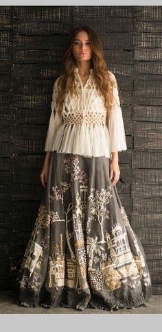 37 Ideas skirt outfits indian boho style for 2019 Indian Designer Outfits, Indian Outfits, Designer Dresses, Lehnga Dress, Lehenga Choli, Sharara, Bridal Lehenga, Anarkali, Lehenga Designs