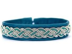 Sami Lapland Viking Swedish armband   Women Braided Leather bracelet   Blue leather cuff   Turquoise summer deerskin and tin jewelry  