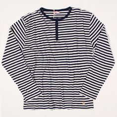 Armor Lux Henley Heritage Linen Blend Stripe Blue/Natural : SUNSETSTAR