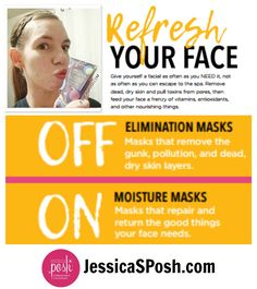 I love, love, love face masks! I have tons of them!  This blog post touches on elimination or off face masks vs. on or moisturizing face masks and how to use them together to deep clean and moisturize your skin and introduces Posh's New Face Masks with pineapple enzymes, glycolic acid, red clay, volcanic ash and charcoal and links to a post about how to do an at home facial JessicaSPosh.com