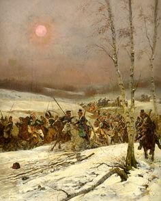 Cossacks attack the retreating French army.