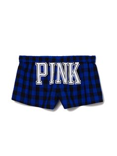 Sleep Short PINK  JC-325-715 (4BU) Cute boxer style in cozy flannel—this sleep short is a dream come true. Only from Victoria's Secret PINK. Logo waistband Fold over Buttons on front Flannel Some have a back graphic Imported cotton