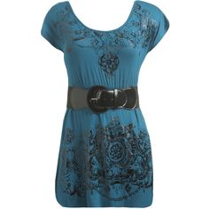 Tattoo Scroll Babydoll Top (44 QAR) ❤ liked on Polyvore featuring tops, shirts, dresses, t-shirts, women, stretchy belts, buckle shirts, rayon shirts, pattern shirt and blue top