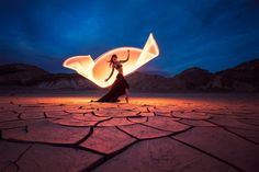 """""""Dancing with light"""" by Eric Pare -  #fstoppers #LightPainting #lightpainting #dancer #kimhenry #mudcracks #whateverthehashtag #deathvalley"""