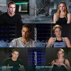Interviews throughout the franchise Tris Et Tobias, Divergent Four, Tris And Four, Divergent Fandom, Divergent Trilogy, Divergent Quotes, Tfios, Miles Teller, Fangirl Book