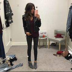 Hello Fashion. Dark purple lace up longsleeve+black skinny jeans+grey boots+black leather jacket. Fall outfit 2016