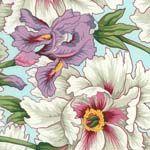 Philip Jacobs Fabric, Iris & Peony Duck Egg (per 1/4 metre)