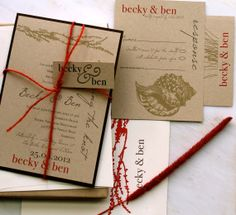 Coral Reef  Wedding Invitations With Coral Red Twine by BeaconLane