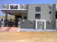 Elevations Of Independent Ideas And Attractive Houses Pictures Elevations Of Independent Houses Independent house front inspirations and attractive elevations of houses pictures. House Front Wall Design, Single Floor House Design, Village House Design, Simple House Design, Bungalow House Design, Modern House Design, Door Design, Facade Design, Architecture Design