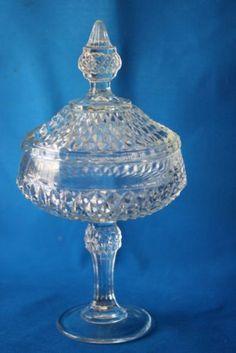 Black Diamond Point Tiara Indiana Glass Covered Candy Dish
