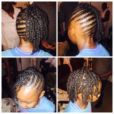 Cornrows and twist to one side
