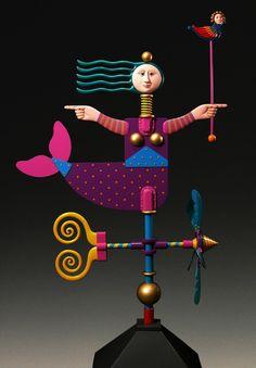 Custom Made Mermaid- Painted Aluminum Weathervane - James Eaton Art Vampire, Vampire Knight, Art Fantaisiste, Les Themes, Kinetic Art, Samurai Tattoo, Unusual Art, Paperclay, Dengeki Daisy