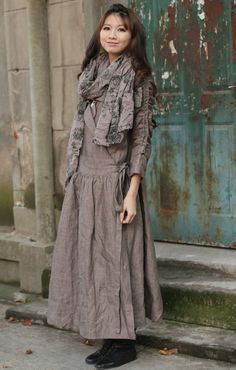Gray lapel flax long sleeve sundressmore colour and by thesimpson, $73.00