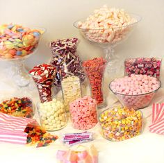 Buy sweets, jars and bowls (amazon cheap, ebay), paper bags (amazon under £2.00 for 100), serving tongs (amazon pack of 3 under £3.00) and make your own wedding, birthday, event sweet table! Cheaper than hiring a company
