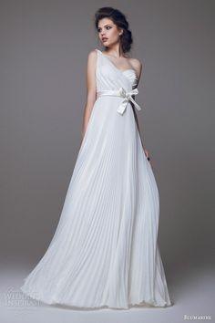 blumarine 2015 bridal one shouldeer pleated wedding dress