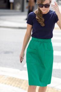 Shop this look - Navy blue tee & green skirt