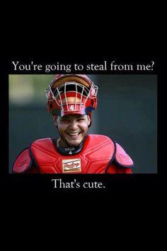 and you are cute too Yadi! St Louis Cardinals Baseball, Braves Baseball, Stl Cardinals, Baseball Games, Softball, Yadier Molina, Baseball Quotes, You Are Cute, Baseball Equipment