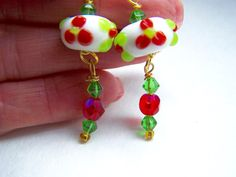 Red Green White Earrings Floral Doodaba Lampwork Glass Dangle Earrings White Earrings, Glass Earrings, Dangle Earrings, Tote Bags Handmade, Handmade Items, Gold Glass, Vintage Pink, Crystal Beads, Red Green