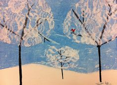 Watery acrylic paint w spread plastic wrap over it while wet & mod podge to adhere the lace to the trees and seal the canvas. Kids Art Class, Art For Kids, Winter Art Projects, Collage, Art Club, Art Plastique, Painting For Kids, Elementary Art, Art Lessons