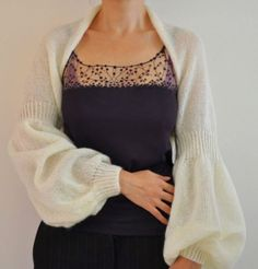 romantic balloon sleeved mohair knit shrug / bolero - ivory bridal shrug by reflectionsbyds