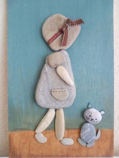 Ideas stone art diy awesome for 2019 Stone Crafts, Rock Crafts, Arts And Crafts, Pebble Painting, Stone Painting, Diy Painting, Girl And Cat, Caillou Roche, Art Pierre