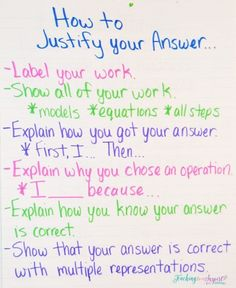 Teaching Students How to Justify Answers in Math Anchor Chart - Also grab a free printable version of this on this post